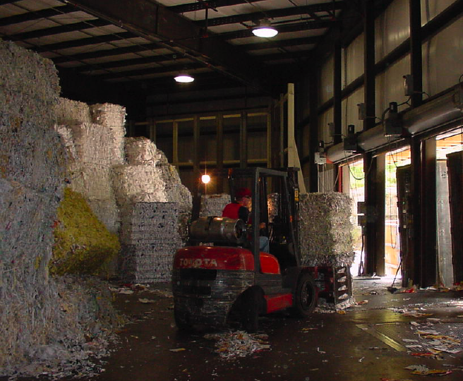 fiber turned into recycled paper