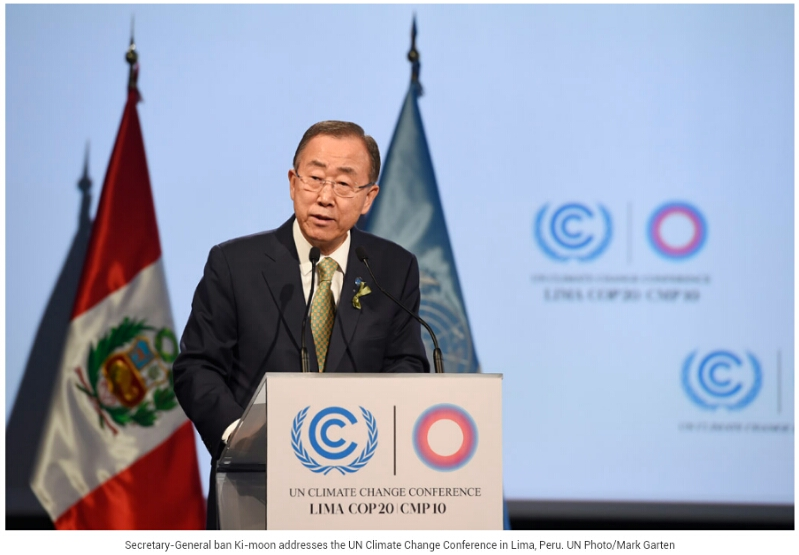 UN SG Ban Ki-moon addresses 2014 Lima Climate Conference UN photo by Mark Garten
