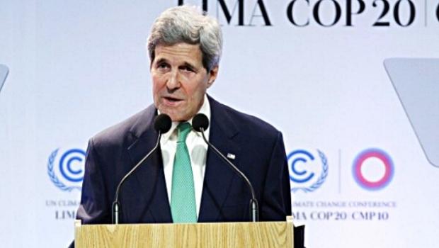 john kerry addresses climate conference lima peru