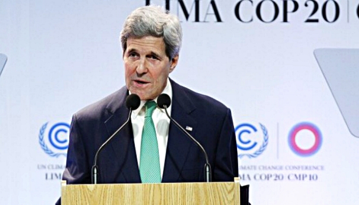 john kerry addresses climate conference lima peru